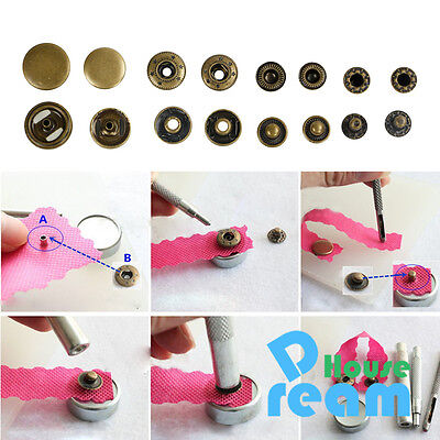 25+4 Kit Metal Snap Press Fastener Stud Popper Jeans Button With Fixing Tool DIY