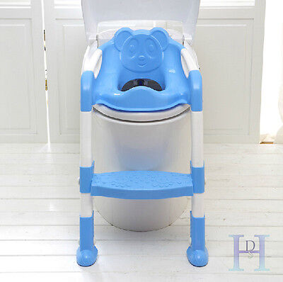 Baby Toddler Potty Toilet Trainer Ladder Training Seat Step Kid Toilet Seat Blue