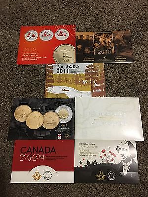 2010 to 2015 Canada Special Edition Uncirculated Coin Sets (7) Priced to sell.