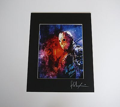 Friday the 13th Part 8 11x14 Print signed Kane Hodder Jason Voorhees Mask Blue