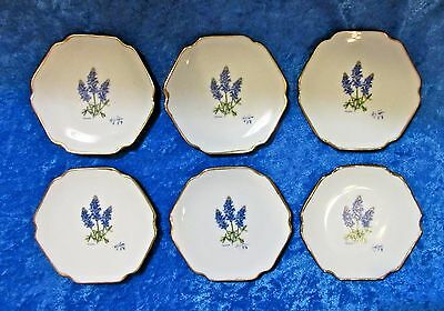 Set of 6 Vintage Porcelain Butter Pats - Texas Blue Bonnets - Afton 1989