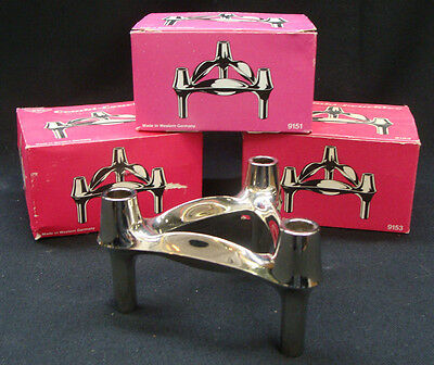 Set of 3 boxed Mid-century BMF Combi-Leuchter chrome candle holders