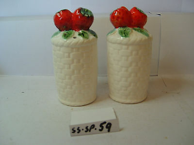 basket weave with strawberries salt and pepper shakers