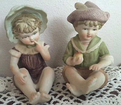 Pair Small Vintage Bisque Piano Babies Girl And Boy Sitting Perfect Condition