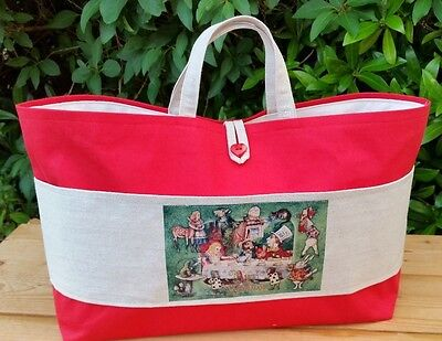 Alice in Wonderland Red Knitting Bag, Cream Lining, 3 Inner Pockets, Hand Made