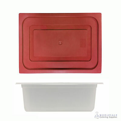 12x Food Pan with Red Lid 1/2 GN 200mm Half Size Polypropylene Gastronorm