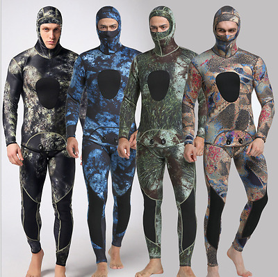 Camouflage Spearfishing Diving Men Full Wetsuit Scuba Hooded Hood 3mm 2 Piece