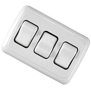 JR Products 12025 White Triple SPST On-Off Switch with Bezel