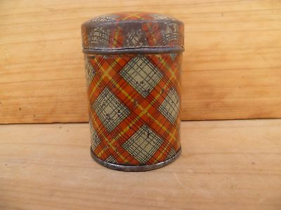Vintage Old Very Cool, Small Size Tartin Pattern Tin, Old Tin (D96)