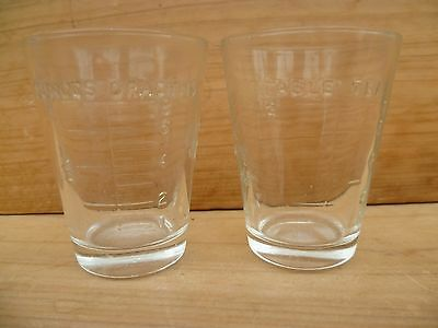Vintage Old Science, Medical Glass Measure Cups Lot 'x2' (D39)