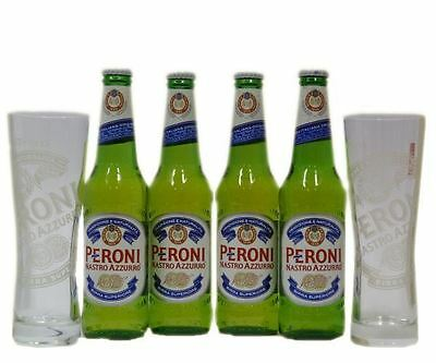 Peroni Nastro Lager 4 x 330ml and 2 x half pint glass gift