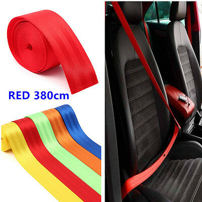 Universal Red Racing Front 3 Point Safety Retractable Van Car Auto Seat Lap Belt