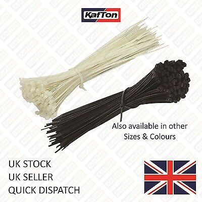 All Sizes UV / Heat Resistant Cable Ties Nylon Plastic Black Natural