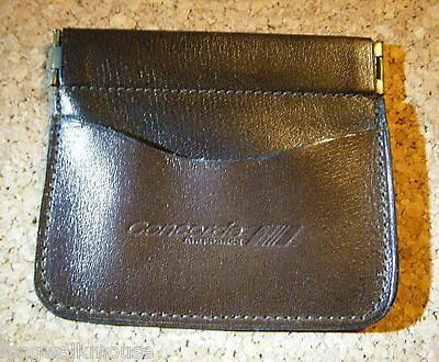 Vintage Concorde Air France Brown Leather Coin Purse with front pocket. 1980`s