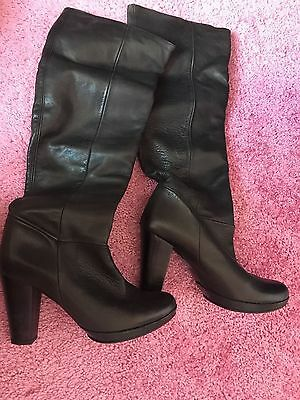 TOPSHOP leather black high boots UK6/39 worn twice only