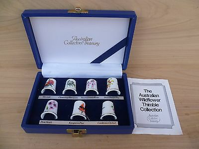 Vintage Old Australian Wildflower Collection, Thimble Set In Case (F148)