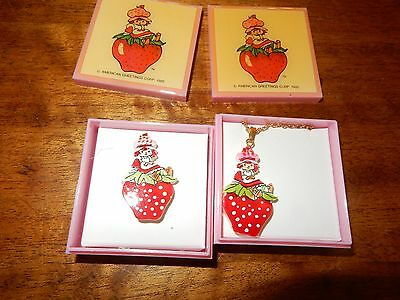 Vintage Strawberry Shortcake Boxed Jewellery Set Necklace And PIn 1985