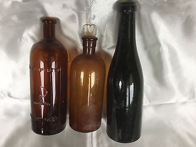 Rare Old Cuming,Smith&Co Formalin -Sickle Emboss+2 X Antique Vintage Bottles