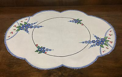 Stunning Vintage Linen Hand Embroidered Doily - Centrepiece - Blue Flowers