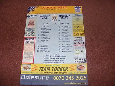 2003 Rochdale v Yeovil Town Teamsheet FIRST EVER LEAGUE GAME