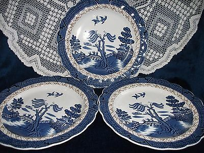 Booths Real Old Willow Dinner Plates Set Of 3  A8025