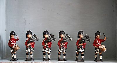 Collection of Six Vintage Metal Toy Soldiers Pipers And Drummers