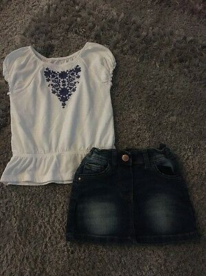 Girls Summer Top And Denim Skirt Outfit 2-3 Years