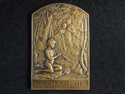 """French Art Nouveau Medal """" Le Charmeur """" The Charmer """" By Laurent Coudray"""