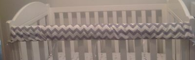 **SALE**Baby Cot Crib Rail Cover Teething Pad Grey Chevron padding