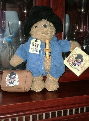 """Very Cute 9.5"""" Paddington Bear with Suitcase complete with labels and gift tag."""