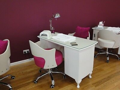 3 Drawer Manicure Desk - Shabby Chic - supplied with glass top
