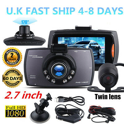 "2.7""1080P Dual Lens Car DVR Dash Cam Video Recorder Night Vision + Rear Camera P"