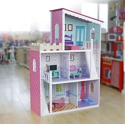 Kids Wooden Dollhouse 3 Storey With Furniture Size 110 X 74 X 30CM  (3 Years+)
