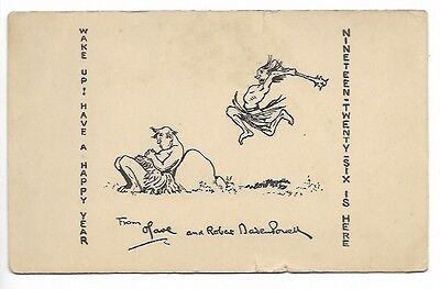 Baden Powell Sketch - New Years Card 1925/1926