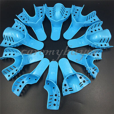 Dental Plastic Disposable Impression Trays Perforated Autoclavable 10 Pcs