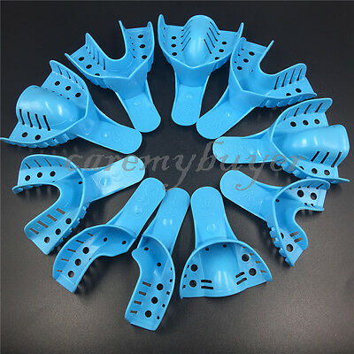 10pcs Dental Plastic Disposable Impression Trays Perforated Autoclavable BLUE CA