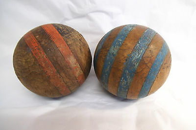 Two Vintage Wooden Game Balls - Boules Petanque ? - Interesting Display Pieces
