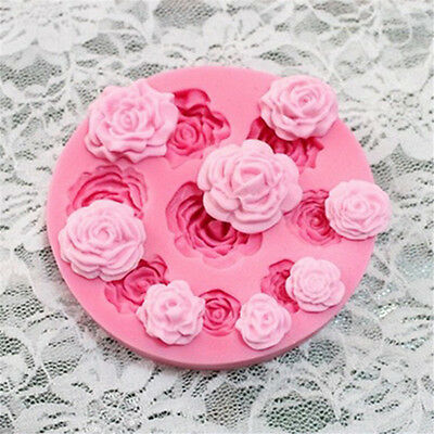 9 Holes Rose Silicone Mold Chocolate Sugarcraft Fondant Cake Baking Decor Tools