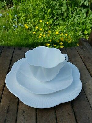 Shelley Dainty White Trio Teacup Saucer & Plate Excellent Art Deco