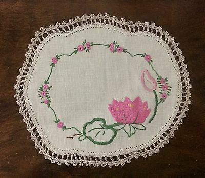 Vintage Linen Hand Embroidered Doily - Pink Water Lily - Crochet Edge