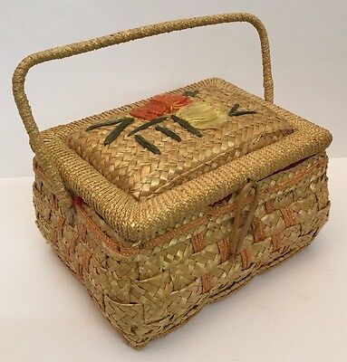 Vintage Chinese Republic Straw Sewing Basket - Nicely Made, Handled, VGC