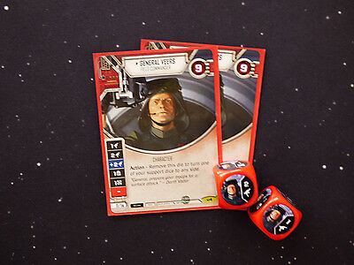 Star Wars Destiny Double General Veers Cards with Dice
