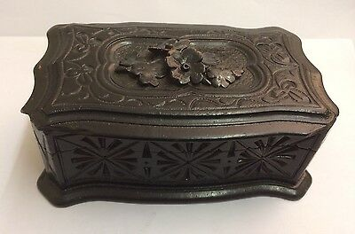 Antique Carved Wood Cigarettes Box Humidor