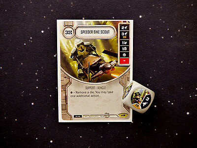 Star Wars Destiny Speeder Bike Scout Rare Card and Dice