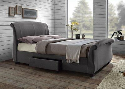 Barcelona Bed Drawers Fabric Grey 5ft King Double Happy Beds Modern Mattress