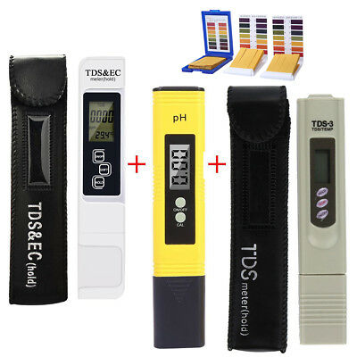 LCD Digital TDS-3+TDS&EC+LCD Digital PH Meter Tester Pool Water Monitor+PH Paper