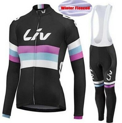 Womens Cycling Jerseys Long Sleeve + Bib Pants Fleece Thermal Set Winter Clothes