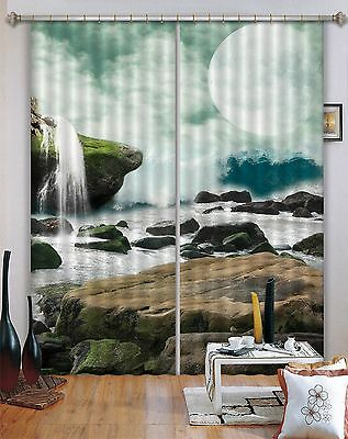 3D Water Moon 7 Blockout Photo Curtain Printing Curtains Drapes Fabric Window CA