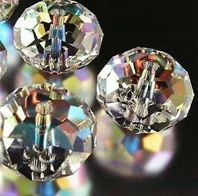 New Loose Beads 4X6mm White AB Crystal Loose Bead 98PCS    N.360