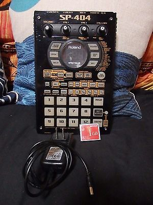 Rare BLACK Roland SP-404 sp404 DJ Sampler with Universal Adapter 1 gb card!